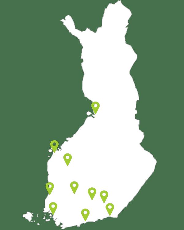 Amiko toimipisteet kartalla